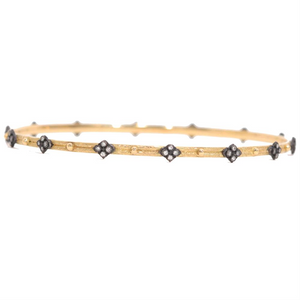 Armenta Midnight Yellow Gold Diamond Cross Stackable Bangle Bracelet