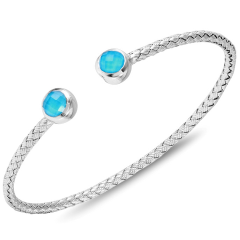 Charles Garnier Sterling Silver 3mm Annecy Mesh Cuff Bracelet With Turquoise Doublet