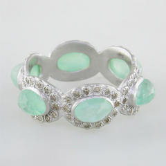 Armenta Oval Chrysoprase & Moonstone Silver Stackable Band Ring with Diamonds from New World Collection