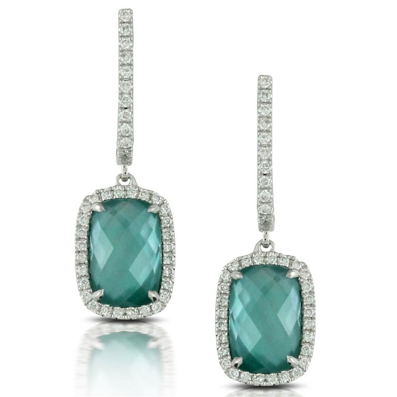 "Doves ""Cypress Grove"" Green Quartz, Mother of Pearl, & Agate Cushion Shape Dangle Earrings with Diamond Halo"