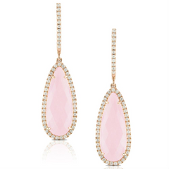 "Doves ""Bella Rosa"" Milky Rose Quartz & Diamond Dangle Drop Earrings 18K"