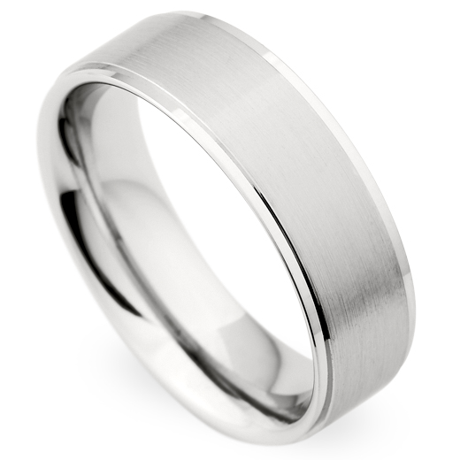 Christian Bauer Men's 14K White Gold Brushed Wedding Band Ring 7mm 273844-020290
