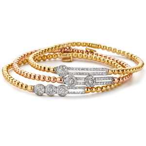 Hulchi Belluni Fidget Bracelet with Three Pave Diamond Moveable Stations Yellow Gold Stretch Stackable