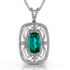 Simon G. Green Tourmaline & Diamond Rectangle Filigree Vintage Style Pendant Necklace TP226