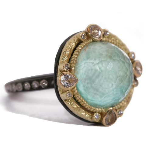 Armenta Green Turquoise & Quartz Round Sapphire Diamond Oxidized Silver Ring
