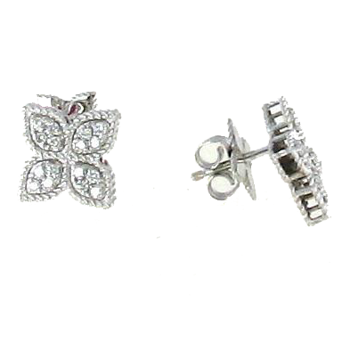 Roberto Coin Princess Flower Diamond Medium Stud Earrings 18K White Gold