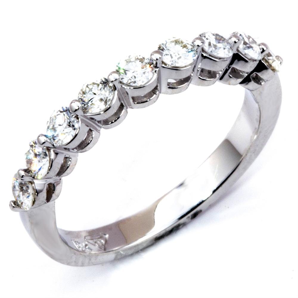 Round Diamond Prong Set 18K White Gold Wedding Band Ring