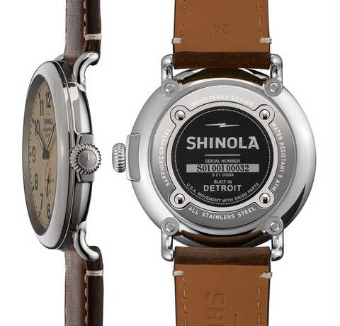 Shinola Gents 47mm Runwell Cream Dial Brown Leather Watch 10000039