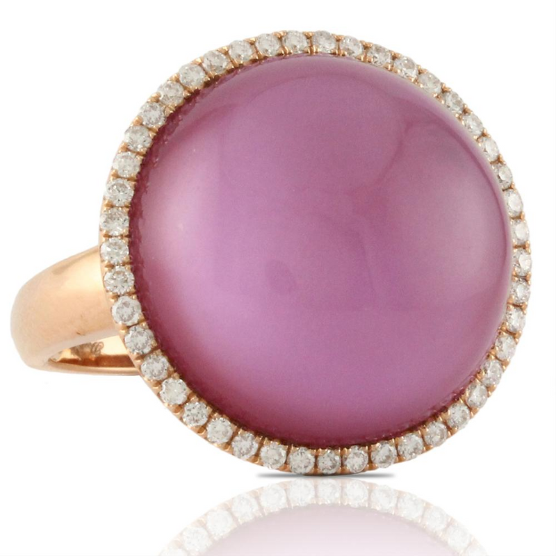 Doves Viola Amethyst & Diamond 18K Rose Gold Ring