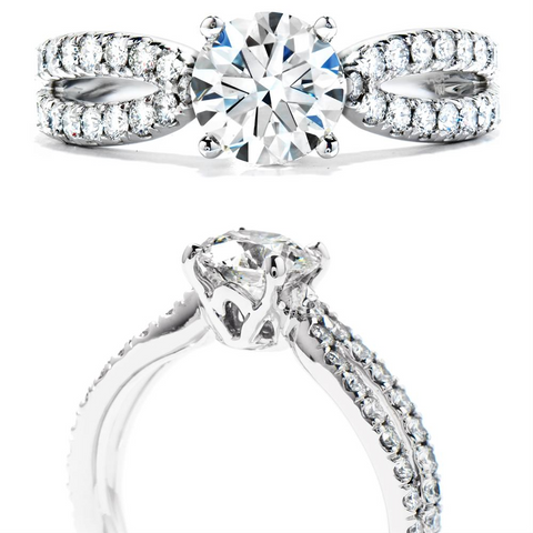 Hearts on Fire Envelop Single Twist Round Diamond Engagement Ring
