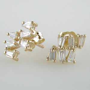 Baguette Diamond 14K Yellow Gold Popcorn Stud Earrings