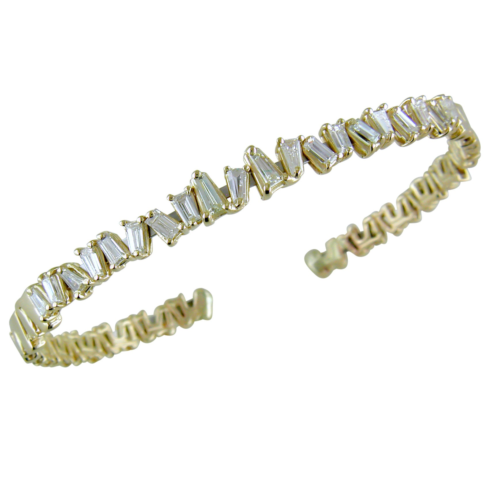 Baguette Diamond 14K Yellow Gold Semi-Stiff Flexible Bracelet