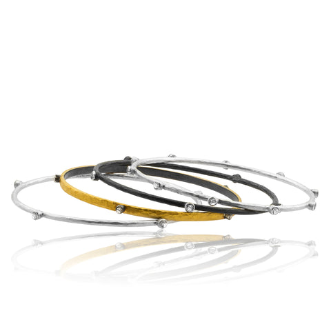 Lika Behar 24K Gold Fusion & Oxidized Silver Bangle Bracelet with 5 Sapphires