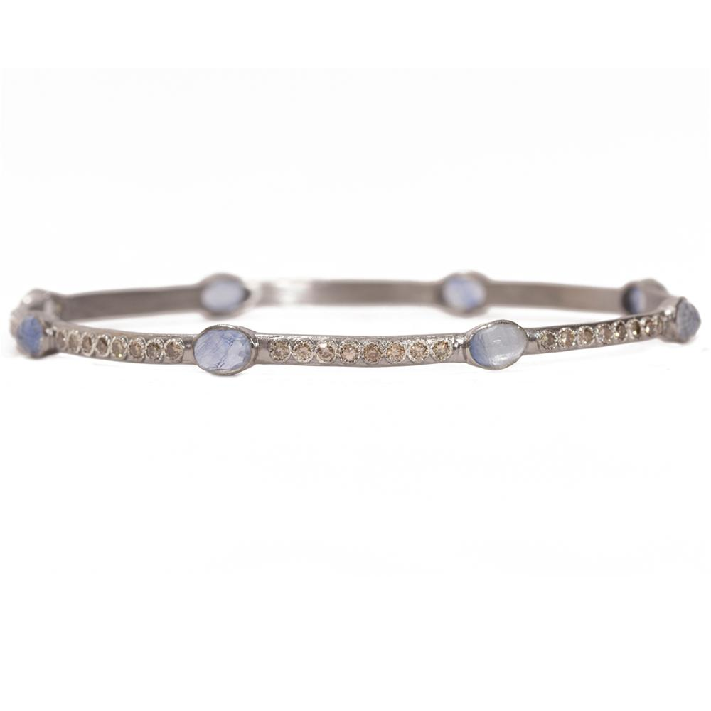 Armenta Kyanite Eternity Sterling Silver Bangle Bracelet with Champagne Diamonds