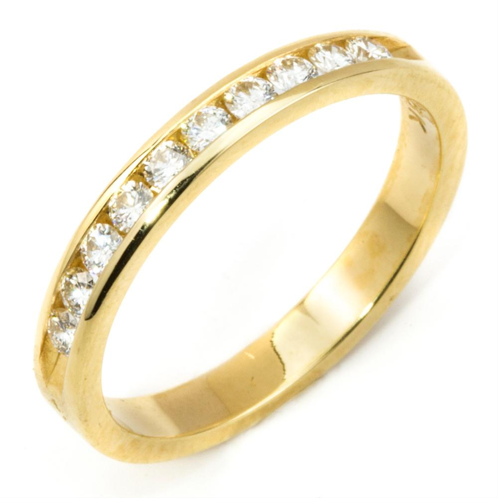 Round Diamond Channel Set Wedding Band Ring Yellow Gold 18K 31 Carat