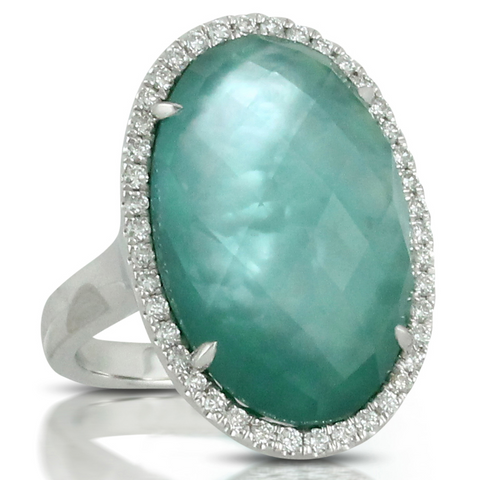 "Doves ""Cypress Grove"" Green Amethyst Mother of Pearl, & Agate Oval White Gold Ring with Diamond Halo"
