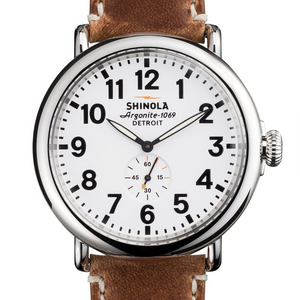 Shinola The Runwell White Dial Brown Leather 47mm Men's Watch S0100010