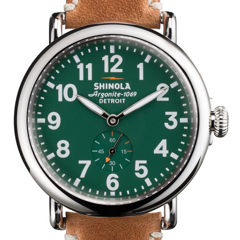 Shinola Gents 41mm Runwell Green Dial Maple Aniline Leather Watch 10000026