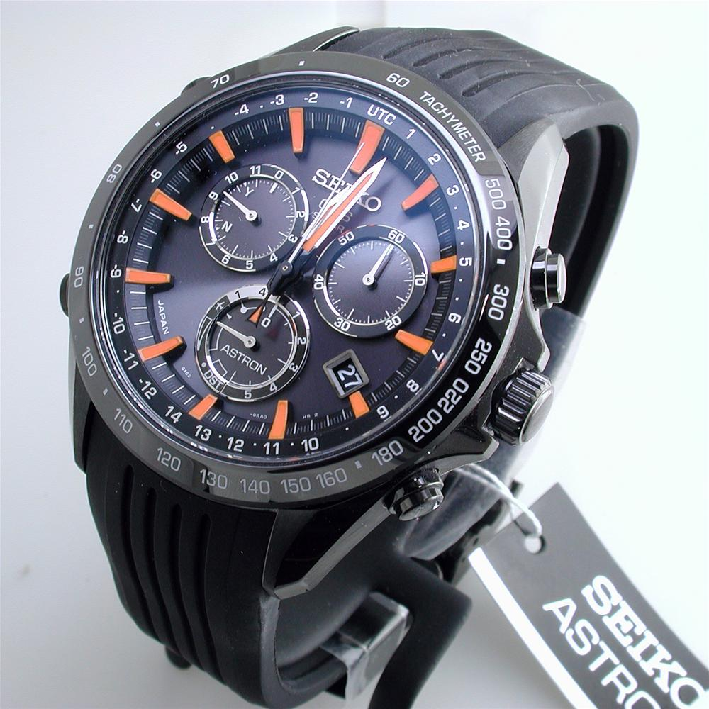 Seiko Astron Solar GPS Ceramic Black Stainless Orange 44.6mm Watch SSE017