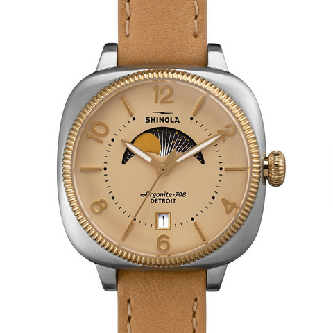 Shinola Gomelsky Moon Phase 36mm Women's Cream Dial Leather Watch S0110000279