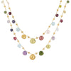 Marco Bicego 18 karat yellow gold double wave Paradise necklace with multi-colored semi-precious stones CB1871 MIX01