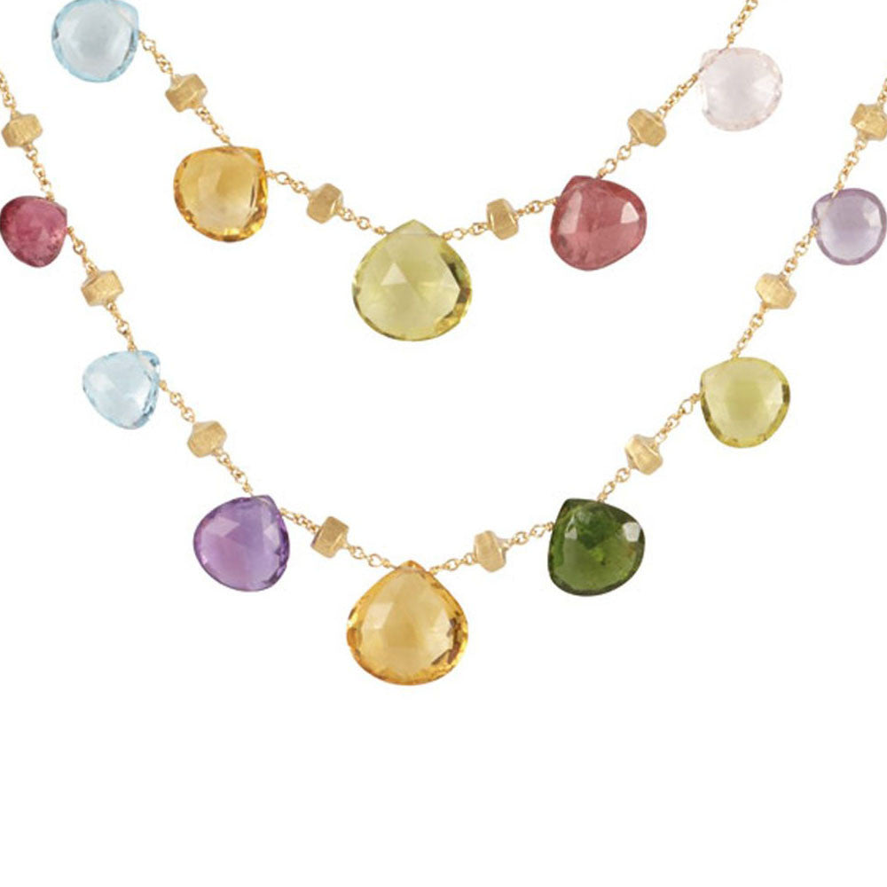 Marco Bicego 18k Yellow Gold Mixed Stones Necklace from Paradise Collection 36in.  CB1871 MIX01 Y 02