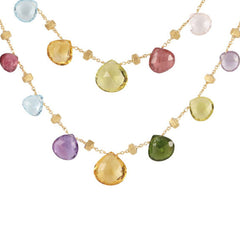 Marco Bicego 18 karat yellow gold double wave Paradise necklace with multi-colored semi-precious stones CB1871MIX01