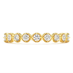 Hearts on Fire Diamond Bar Single Prong Milgrain Ring Band