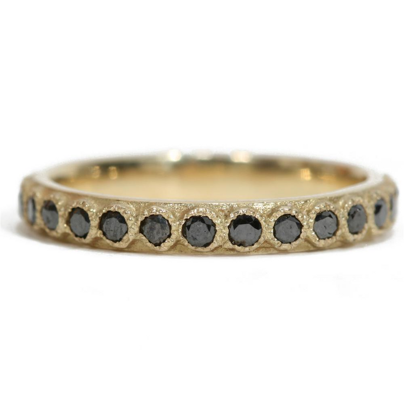 Armenta Yellow Gold Black Diamond Stackable Ring