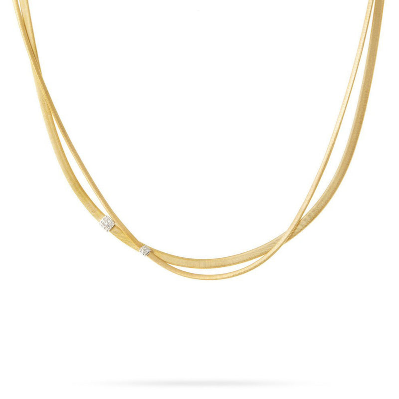 Marco Bicego 18 karat yellow gold two-strand Masai necklace with diamonds CG732 B YW