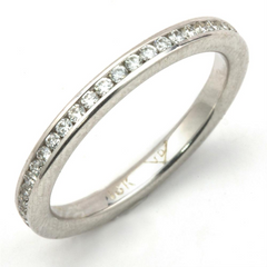 Round Diamond Channel Set Eternity Band Anniversary Ring 18K 1/2 Carat