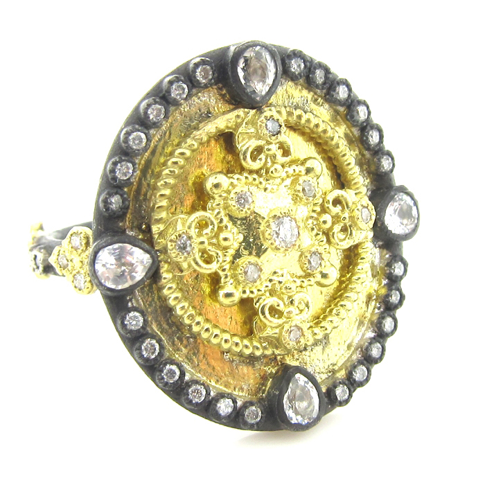 Armenta Heraldry Oval Shield Ring Gold Diamonds & White Sapphires