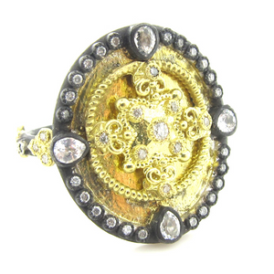 Armenta Heraldry Oval Shield Ring Gold Diamonds & White Sapphires 27420