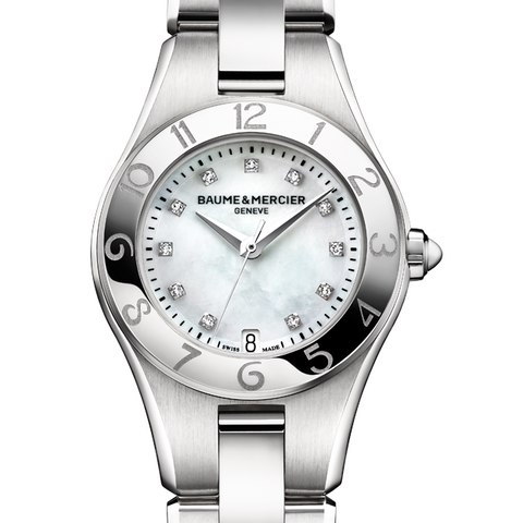 Baume & Mercier Linea Diamond Mother of Pearl Dial 27mm Ladies Watch 10011