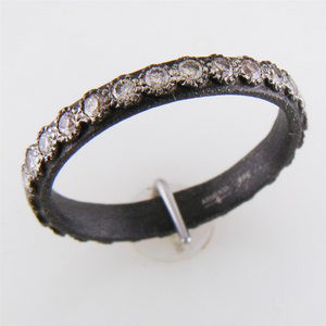 Armenta Blackened Champagne Diamond Stackable Oxidized Silver Eternity Band Ring