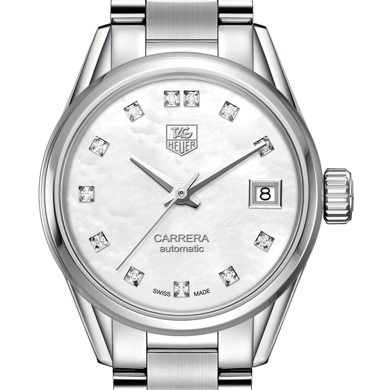 TAG Heuer CARRERA Calibre 9 Automatic Ladies Stainless Steel Watch Diamond Mother Pearl Dial 28MM WAR2414.BA0776