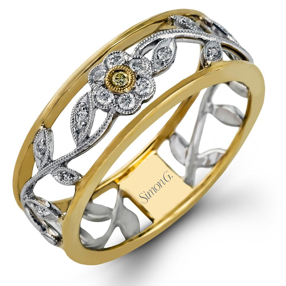 Simon G. Delicate Antique Milgrain Flower Yellow & White Diamond Ring Band MR100-D