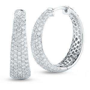 Roberto Coin Large Tapered Inside Outside Diamond Hoop Earrings 8881416AWERX
