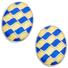 Deakin & Francis Oval Yellow & Navy Blue Enamel Silver Cufflinks
