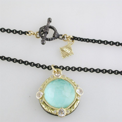 Armenta Round Enhancer with Green Turquoise & Quartz Doublet Oxidized Silver & Yellow Gold Necklace