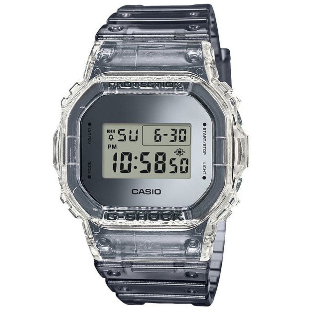 CASIO G-SHOCK DW-5600SK-1 Clear Silver Metallic Skeleton Square Watch