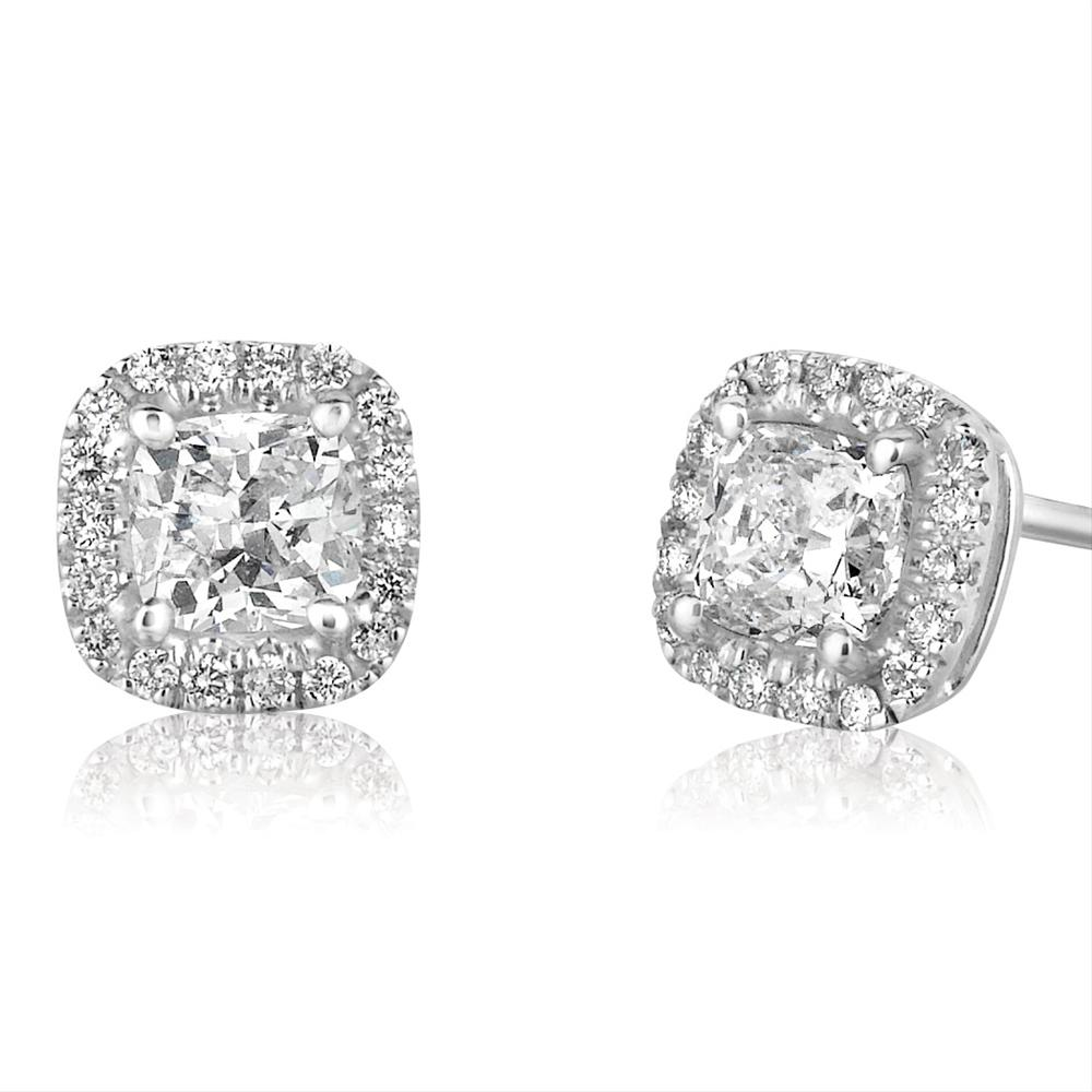 cz halo gold round earrings cluster silver stud