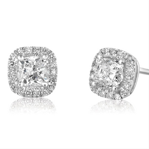 "Forevermark Ideal Cut Cushion Shape ""Center of my Universe"" Diamond Halo Stud Earrings 1.24 Carats t.w."
