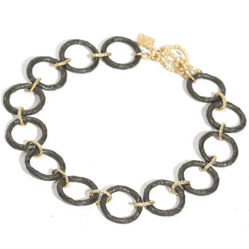 Armenta Midnight Silver Circle Link & Oval Yellow Gold Toggle Bracelet 04281