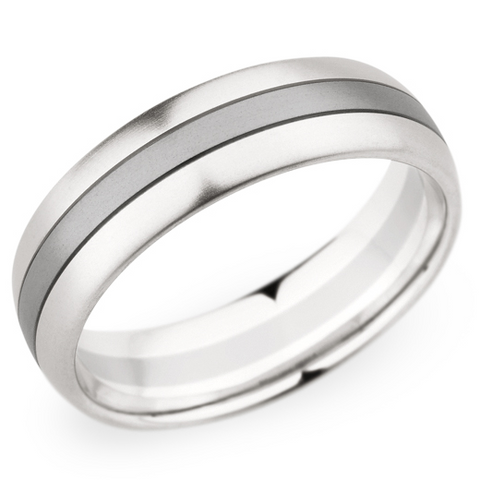 Christian Bauer Men's Palladium & 18K White Gold Brushed Wedding Band 6.5mm