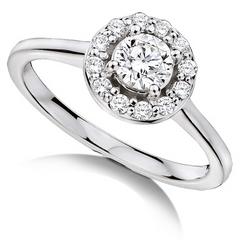 "Forevermark Round Ideal Cut ""Center of my Universe"" Diamond Halo Ring 18K White Gold"