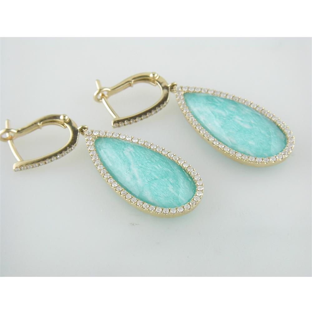 Doves White Topaz Amazonite Pear Shape Doublet Drop Diamond Halo Earrings