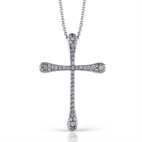 Simon G. White Gold Diamond Cross Modern Design Pendant Necklace TP167
