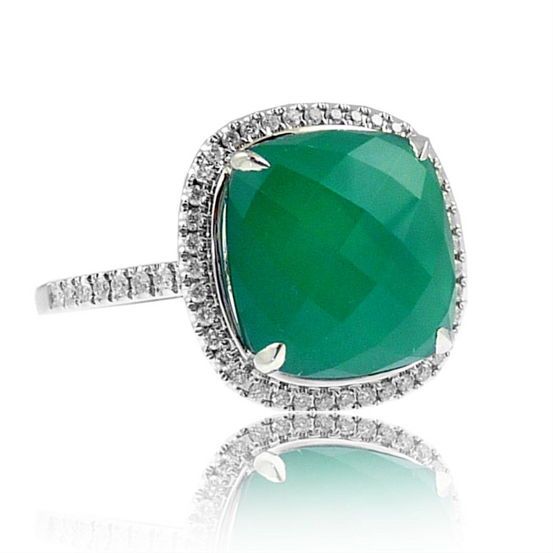 "Doves ""Emerald Dreams"" Green Chalcedony & Diamond White Gold Ring"