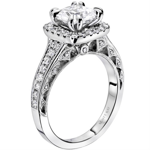 Pre-owned Estate Scott Kay Heaven's Gates White Gold Princess Square Diamond Engagement Ring Milgrain 1.81 carats